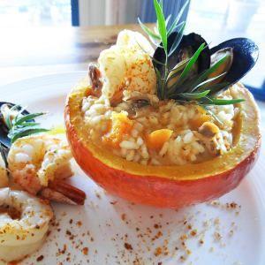 Risotto con Zucca, Frutti di Mare e Bottarga