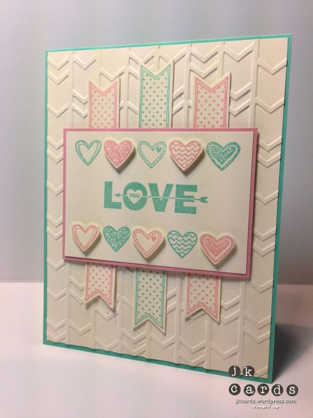 Stampin' Up!, Freshly Made Sketches 116, Language of Love*, Love You to the Moon*, Banners Framelits Dies*, Arrows Embossing Folder*, Small Heart Punch (*2014 Occasions Catalog - January 3, 2014)
