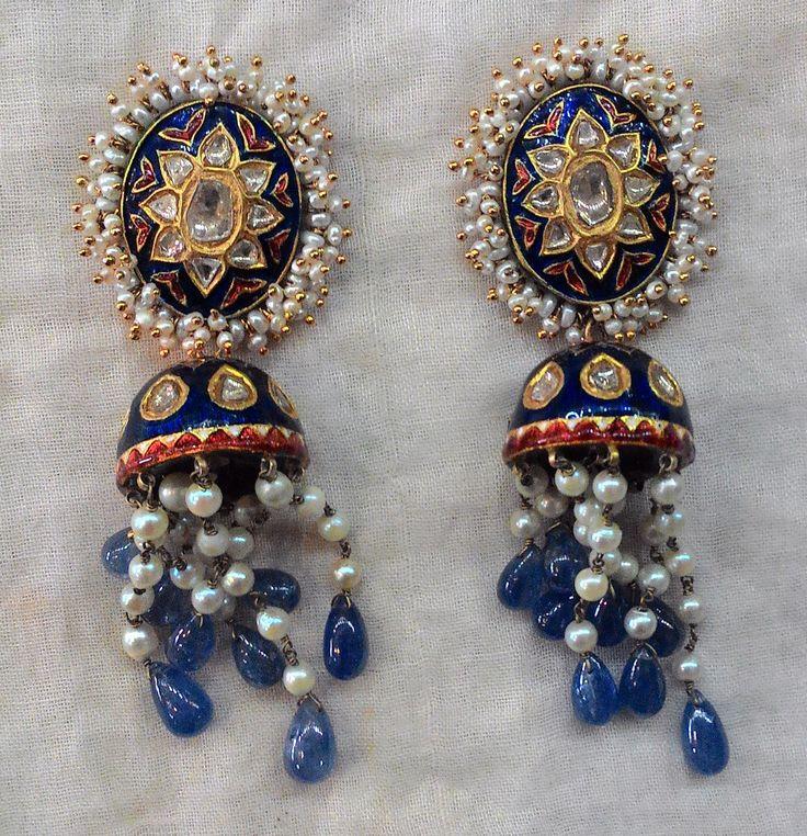 Blue meena jhumkis with pearls | Kundan Meena Earrings