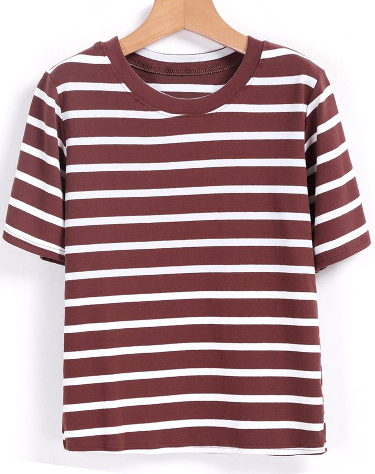 Shop Round Neck Striped Coffee T-shirt online. SheIn offers Round Neck Striped Coffee T-shirt & more to fit your fashionable needs.