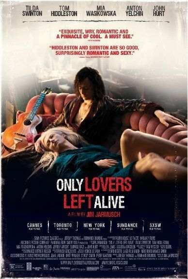 Only Lovers Left Alive is a 2013 vampire film written and directed by Jim Jarmusch, and starring Tom Hiddleston, Tilda Swinton, Mia Wasikowska, Anton Yelchin, and John Hurt. A co-production of the United Kingdom and Germany, the film was nominated for the Palme d'Or at the 2013 Cannes Film Festival. PLOT: A depressed musician reunites with his lover, though their romance - which has already endured several centuries - is disrupted by the arrival of her uncontrollable younger sister.