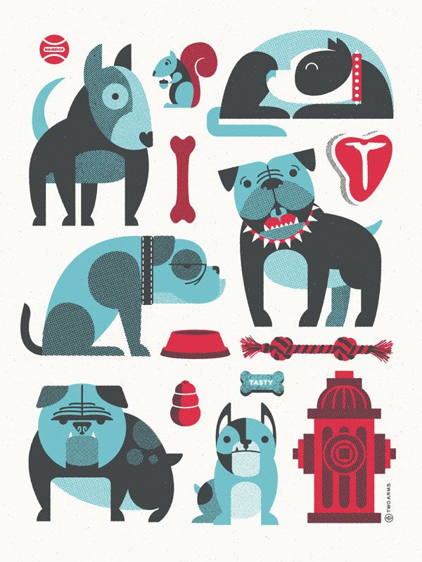 Bullies!  by Two Arms Inc.: Graphic Design, Idea, Illustrations, Bulldogs, Art Prints, Animal