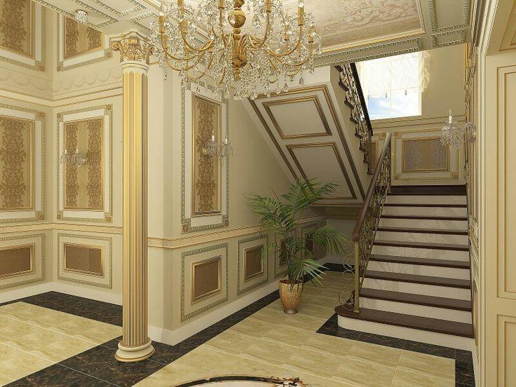 Загородный дом #Лестица #Холл #интерьер #визуализация