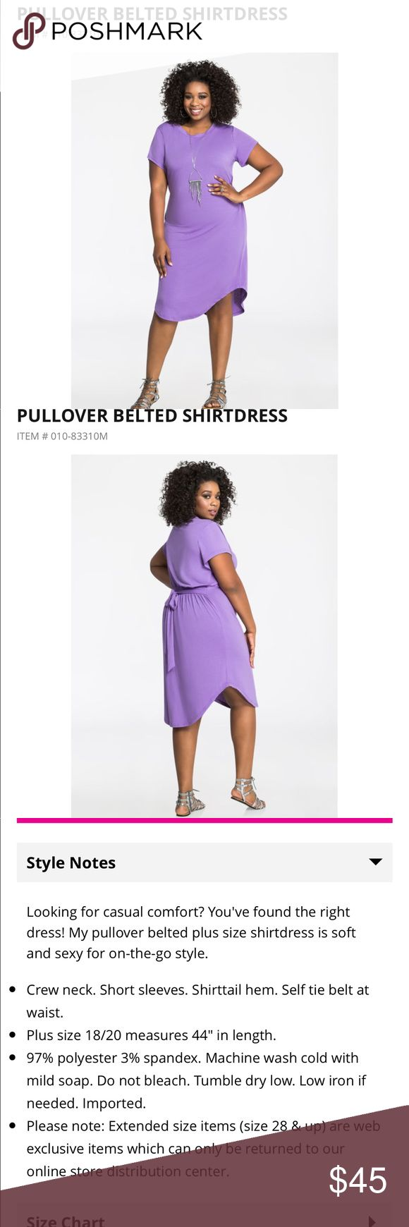 Womens Plus Size Pullover Belted Shirt Dress Gorgeous shirt dress with shirttail hem. Crewneck and Belted. Ashley Stewart Dresses High Low