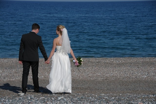 on the beach after the ceremony