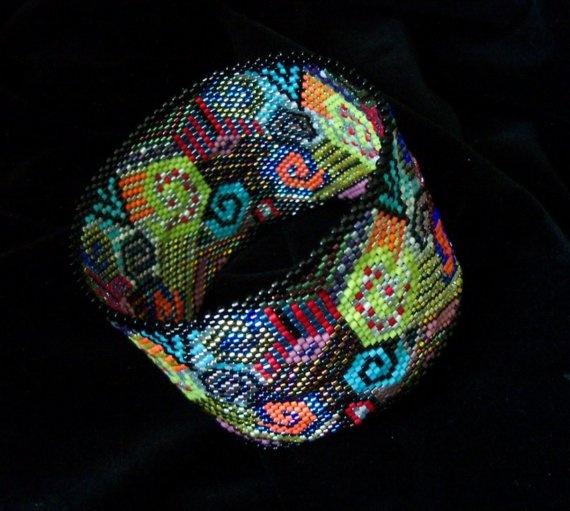 patchwork peyote stitch beaded bracelet