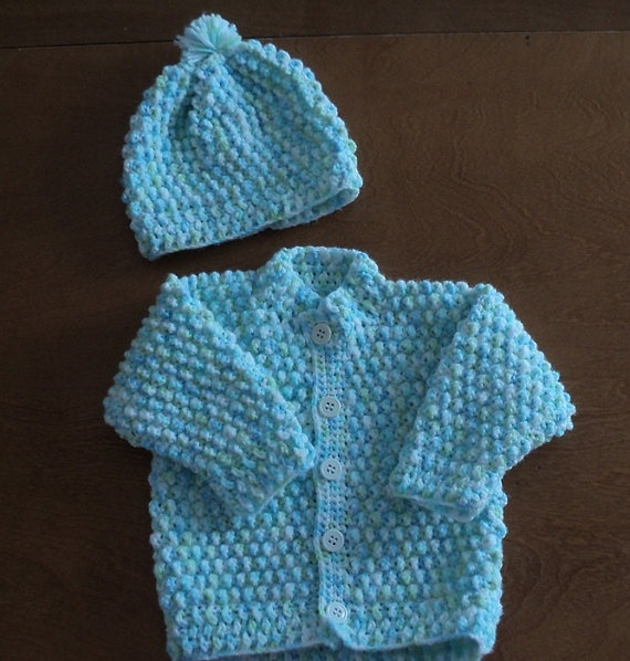 Hand Crocheted Popcorn Baby Sweater and Hat by CountryCrafts4You, $22.00
