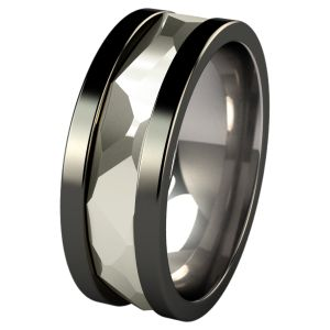 Bold and beautiful, this titanium ring displays strong character that will appeal to men desirous to make a bolder statement.  http://www.titaniumrings.com/titanium-wedding-bands/precious-inlays/nugget-black-sculpted-white-gold-inlay.html