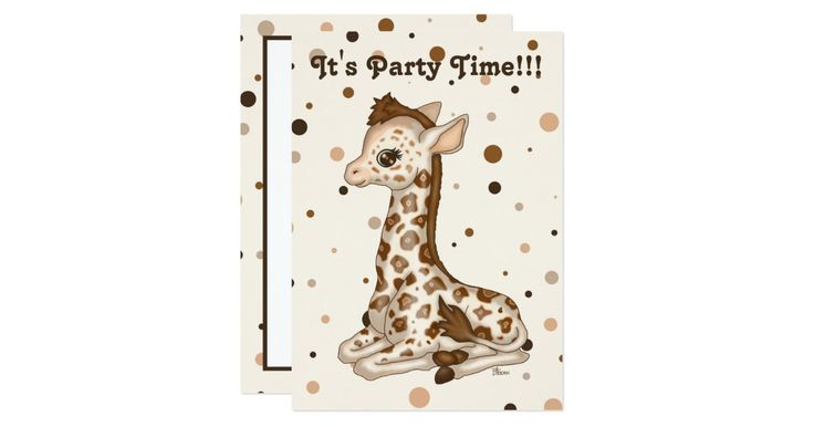Celebrate your child's birthday in style with this cute baby giraffe personalised invitation.  The baby animals collection contains many quirky little characters full of colour, fun and cheekiness.