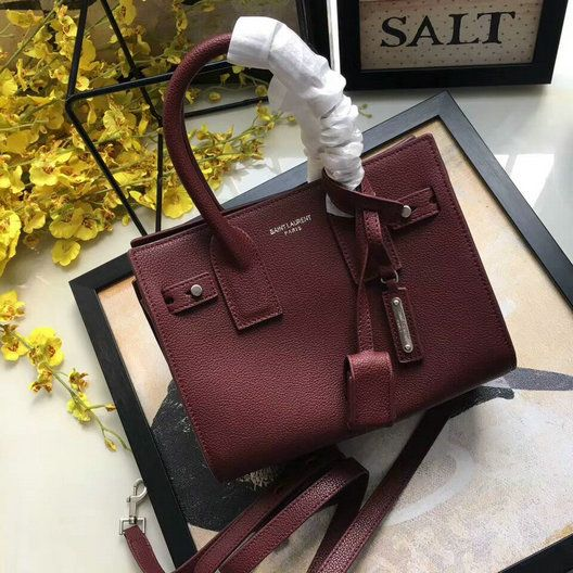 e31ab96f 2017 A/W Saint Laurent Nano Sac De Jour Souple Bag in Burgundy ...