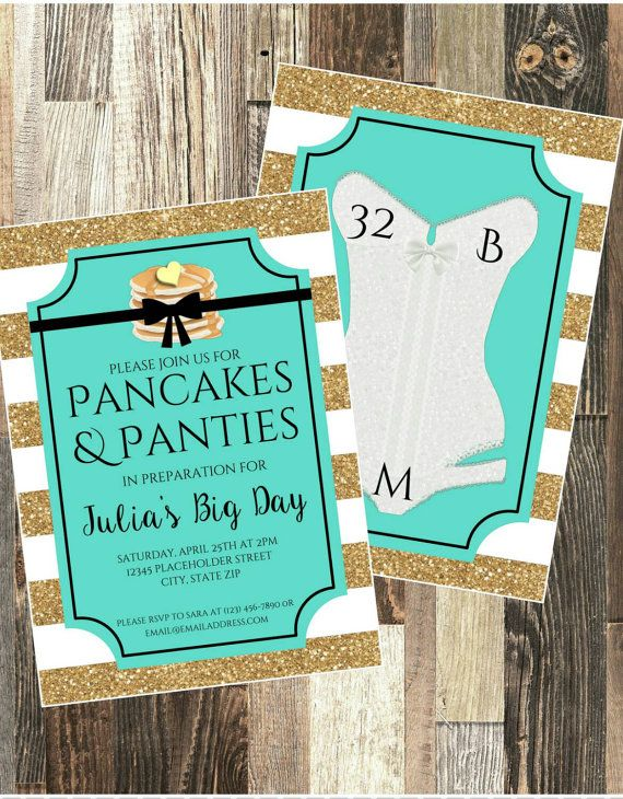 Check out this item in my Etsy shop https://www.etsy.com/listing/268459418/pancakes-and-panties-bridal-shower