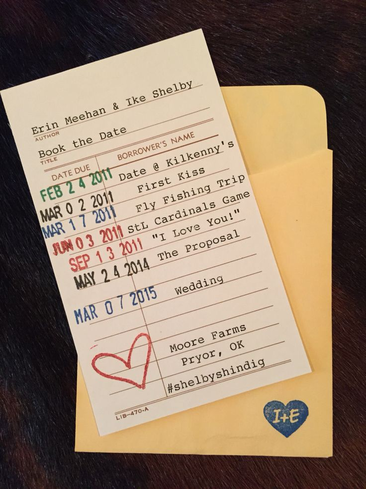 How cute is this save the date card!! Library style