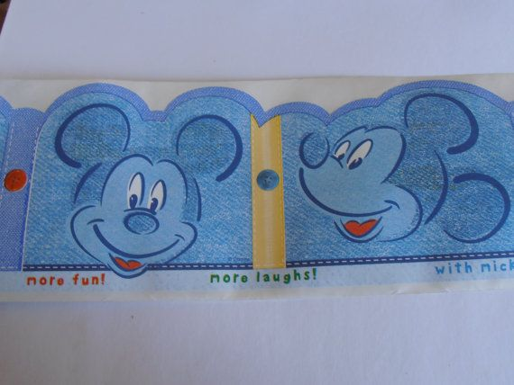 Mickey Mouse Disney Nursery Wall Border Denim by tjmccarty on Etsy