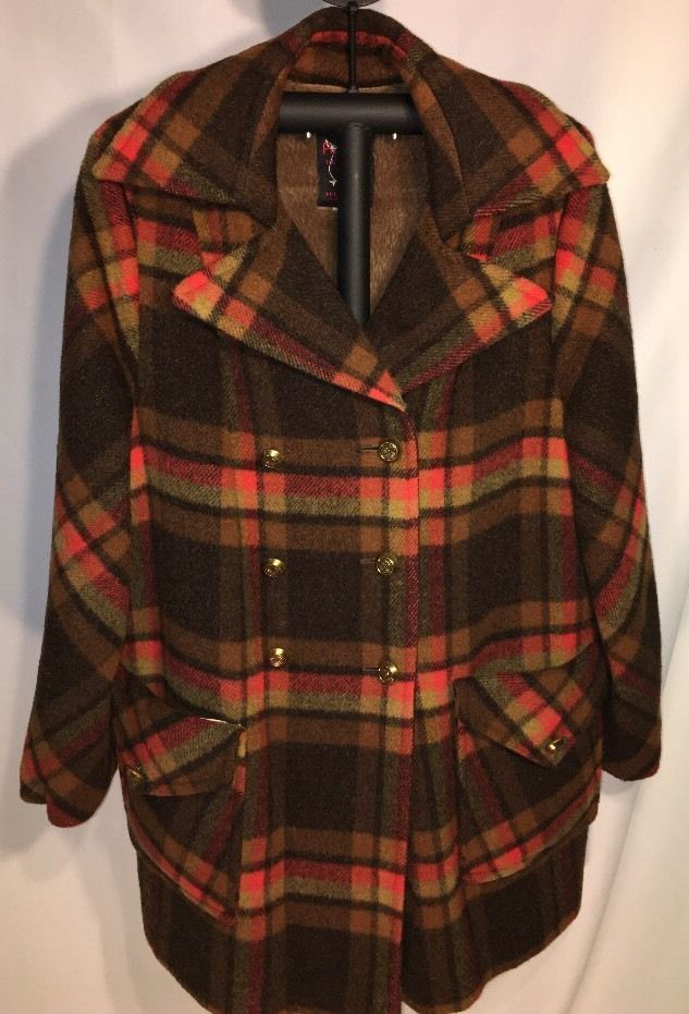 Vintage Penguin Fashions Coat Brown Plaid Peacoat Borg Fabric 843374  | eBay