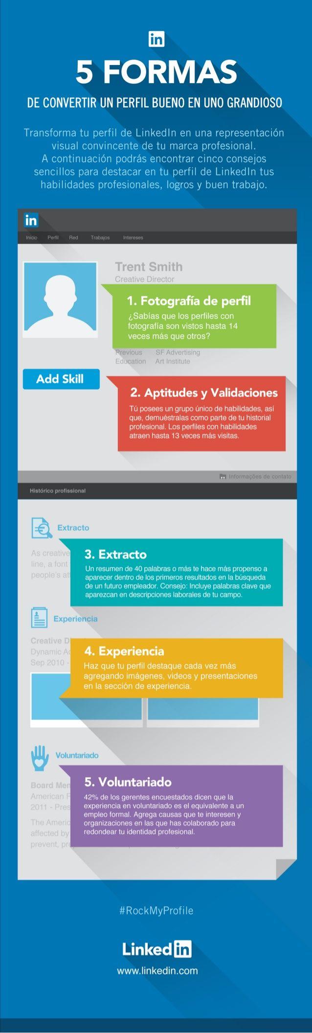 5 formas de convertir un buen perfil de Linkedin en uno grandioso #infografia