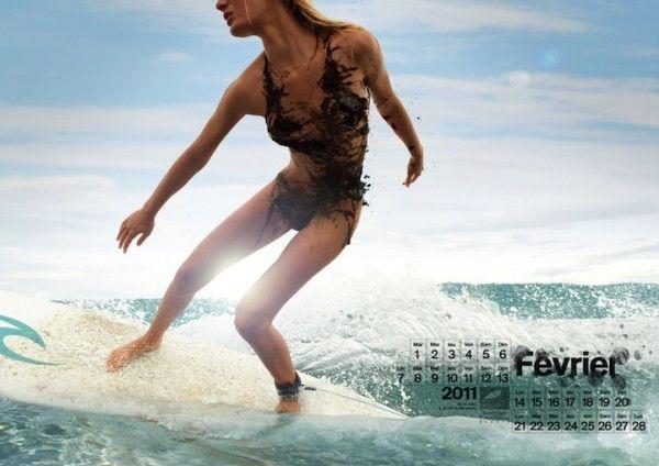 surfer girl: Surfrid Foundation,  Two-Piec, Oil Naked, Europe Calendar, Bikinis, Surfers Girls, Calendar 2011, 2011 Calendar, Sea Clean
