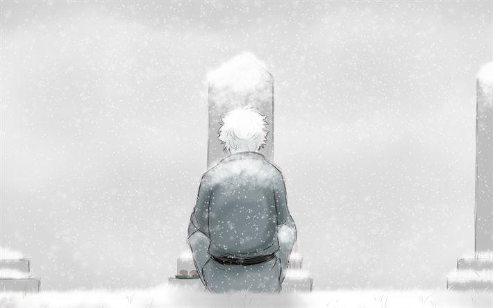 Download wallpapers 4k, Sakata Gintoki, winter, samurai, manga, protagonist, Gintama