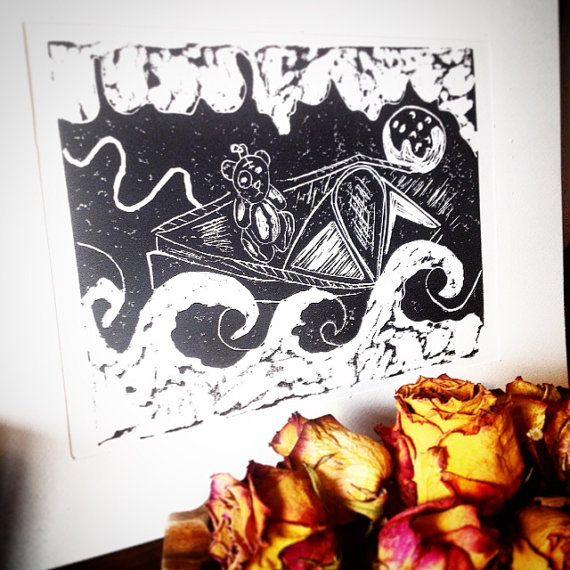 teddy bear print bear Lino print prints bear lino by Monikagifts