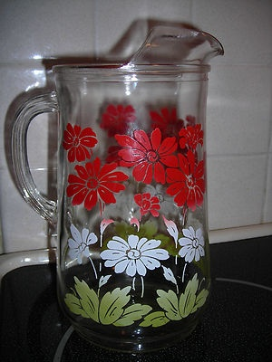 VINTAGE Clear Glass Pitcher Ice Lip Red White Green Floral Retro Kitchen | eBay