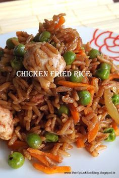 Chicken fried rice: 1 Tbl sesame oil Half an onion sliced 2 cloves of garlic minced 1 tsp grated ginger 1 medium chicken breast diced 120 g of cooked wholegrain rice 40 g of frozen garden peas 1 carrot grated 1 Tbl soya sauce 1 Tbl of Hoisin Sauce 2 spring onion sliced finely Salt & Pepper to taste