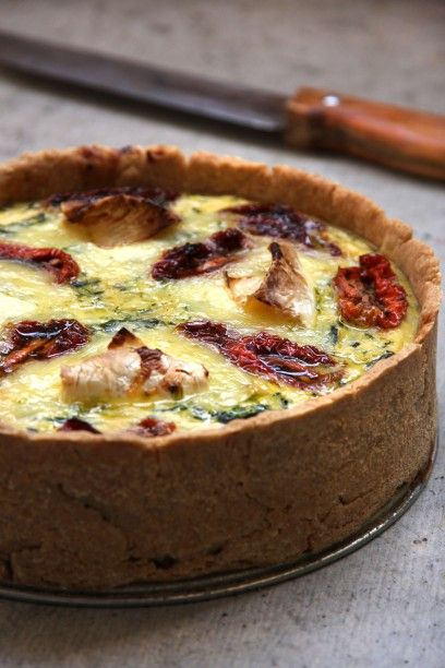 """Spinach Quiche with Camembert and Sun Dried Tomatoes ~ via this blog, """"Rock the Kitchen""""."""