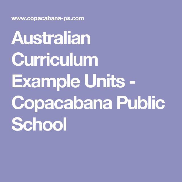 Australian Curriculum Example Units - Copacabana Public School