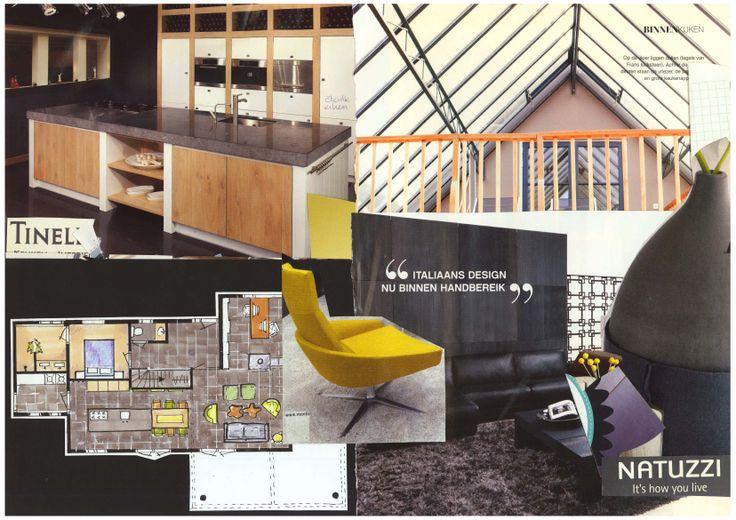 Sfeerplattegrond en meubelinspiratie bungalow. Vrij ontwerp door Ridesign: Ria Bernards