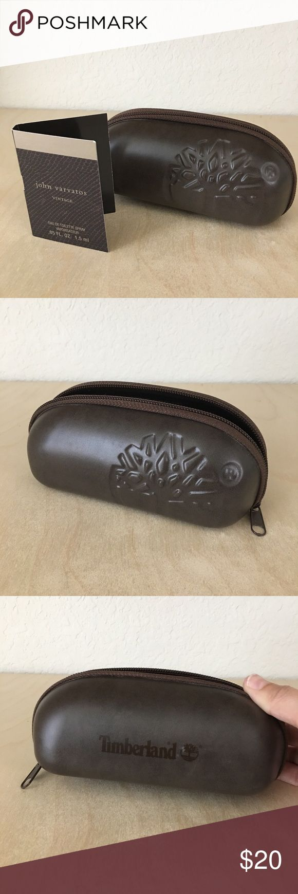 "Timberland Sunglass Case Gently used, so it has a couple of tiny marks on the outside-(as you can see in pics) but in otherwise great condition! Inside is immaculate and zipper works perfectly! *Also comes with a fee sample of John Varvatos ""Vintage"" cologne for men. Timberland Accessories Sunglasses"