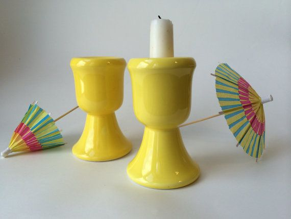 So in love with these BRIGHT yellow candle holders...if they don't sell soon I might just keep them. :) Set of Two Vintage Midcentury Modern Yellow by JuniperLaneShop, $22.00