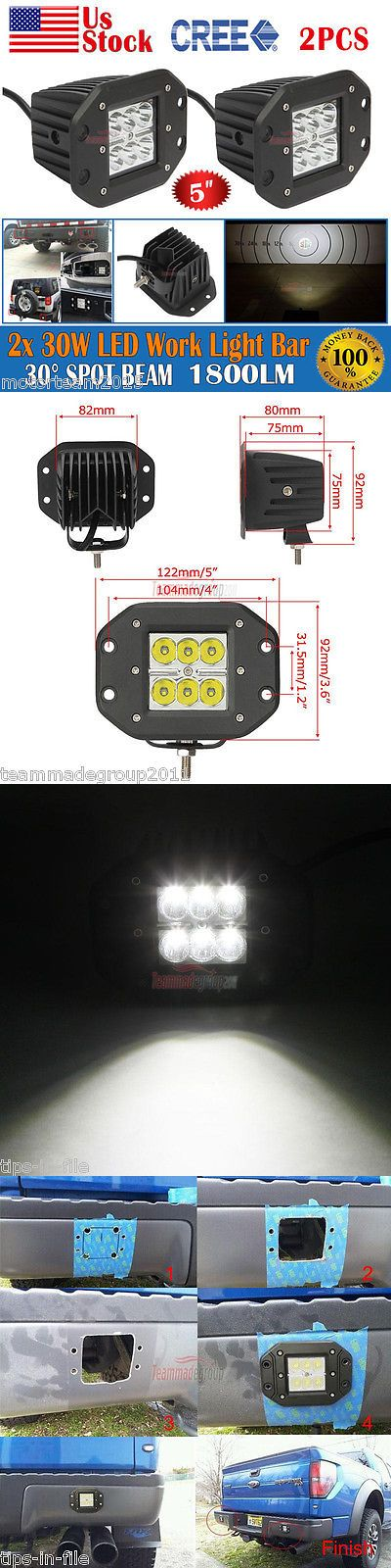 Car Lighting: 2X 5Inch 30W Flush Mount Offroad Led Light Bar Spot 4Wd Pod Jeep Truck Vs 3 18W BUY IT NOW ONLY: $34.5