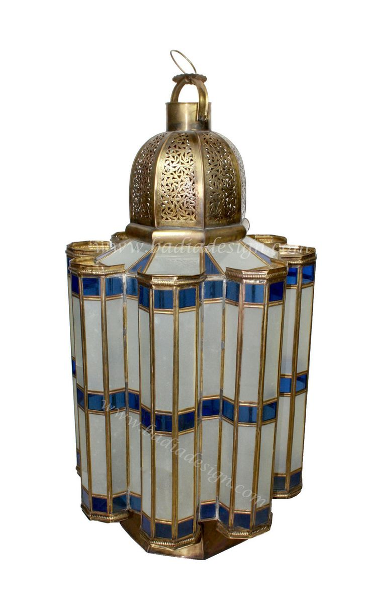 Mediterranean living room los angeles by badia design inc - Extra Large Brass Floor Lantern With Blue And White Color Glass Http