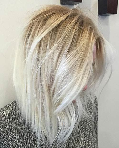 Ice Blonde Balayage Long Bob