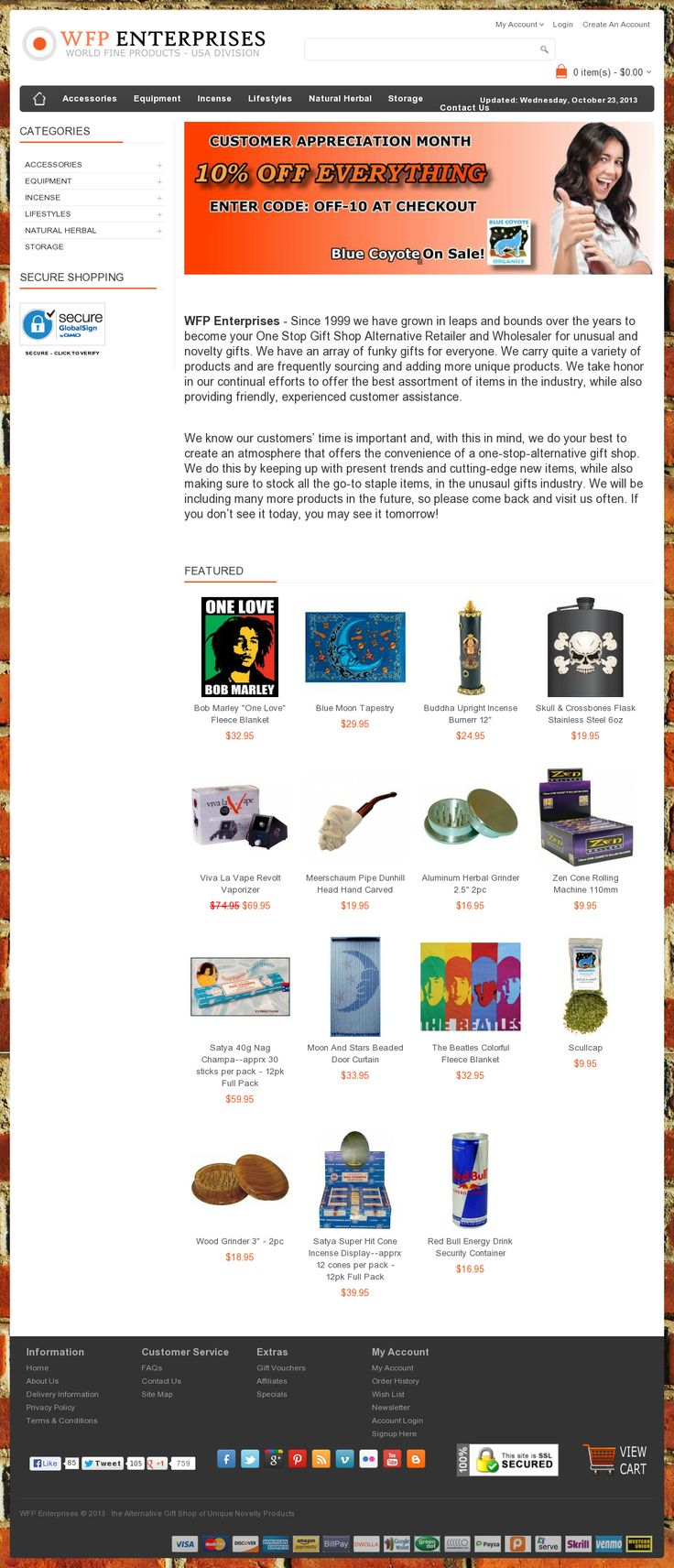 http://www.wfpenterprises.com/ - WFP Enterprises - Since 1999 we have grown in leaps and bounds over the years to become your One Stop Gift Shop Alternative Retailer and Wholesaler for unusual and novelty gifts. We have an array of funky gifts for everyone.