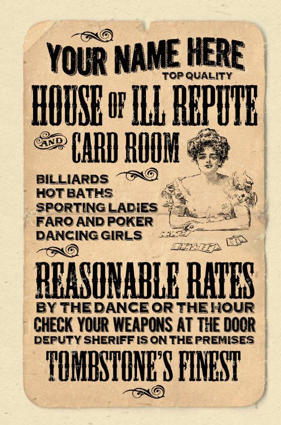 Your Name On An Old Timey House Of Ill Repute Poster