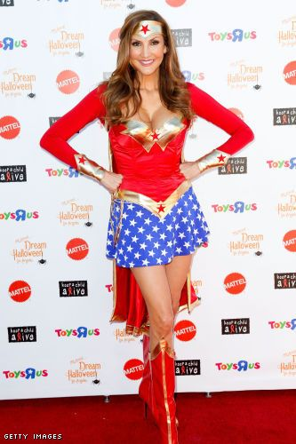 Heather McDonald as a sexy Wonder Woman for a Halloween party