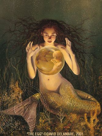 """The Egg"" (Mermaid painting by David Delamare) Information and products available at www.daviddelamare.com/mermaids.html Artwork © David Delamare. Product design © Wendy Ice. Alteration of artwork strictly prohibited by law. Artist authorizes ""repin"" of this image only if this caption is unchanged. Please use comments box (not caption) for any personal notes. Note: we do not allow posting of images on any websites except Pinterest."