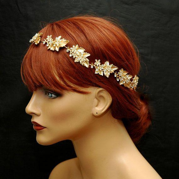 Leaf crown Greece wedding Tiara hair vine Gold Leaf Hair Bridal vine Leaf wedding headpiece Leaf halo Wedding Hair Piece Bridal hair halo