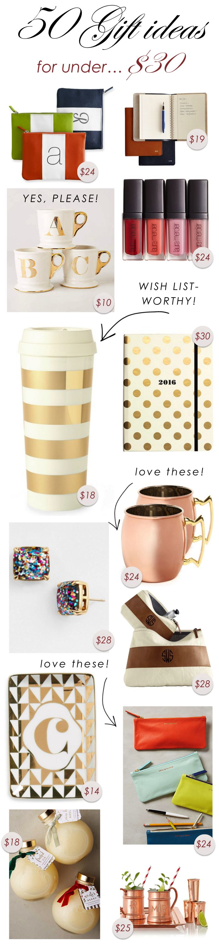 50 Gift Ideas for Under $30 http://www.theperfectpalette.com/2014/12/50-gift-ideas-for-under-30.html