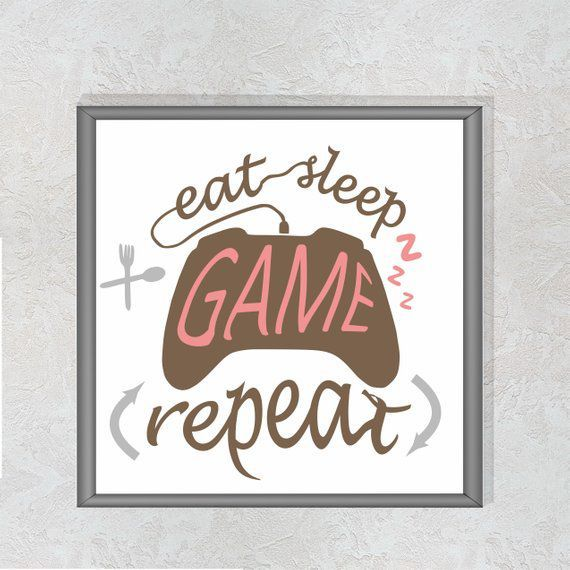 Eat sleep game repeat Teen room decor Gamer room decor xbox Modern cross stitch Cool mottoes Counted –  – #GamerRoom|DIY