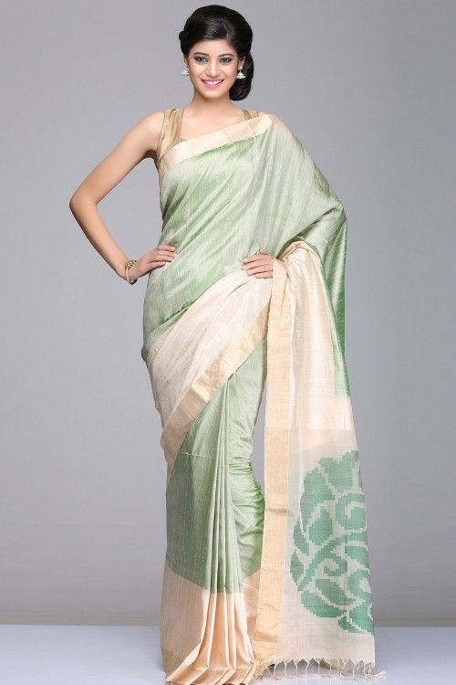 Coimbatore Soft Silk Sarees   Ivory & Green Raw Soft Silk Saree With Solid Gold Striped Border And Big
