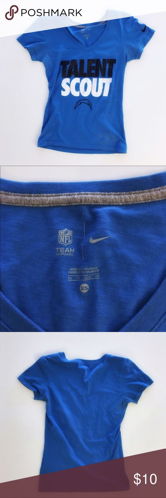 """Nike NFL Chargers Blue V-Neck Talent Scout T-Shirt Nike NFL Chargers Blue V-Neck """"Talent Scout"""" T-Shirt - Size XS - in very good condition Nike Tops Tees - Short Sleeve"""