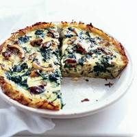 Spinach-Mushroom Quiche - potato crust and lots of veggies
