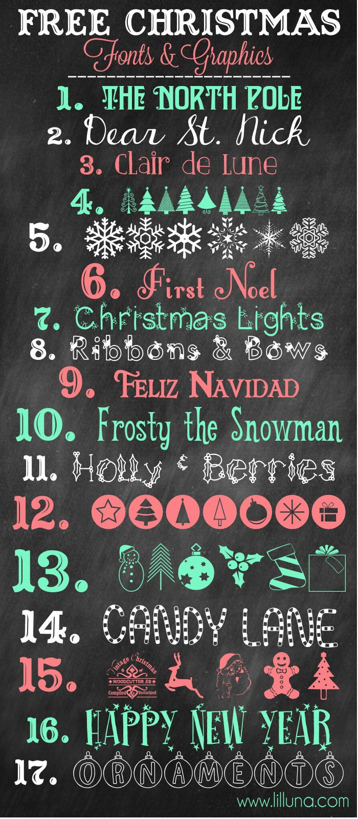 MORE Favorite Free Christmas Fonts and Graphics to download and use { lilluna.com }