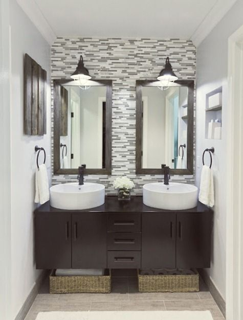 My idea of the perfect bathroom.: Bathroom Reveal, Glasses Tile, Small Bathroom, Bathroom Sinks, Bathroom Ideas, Small Spaces, Jenna Sue, Master Bathroom, Double Sinks
