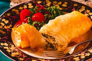Spinach Chicken and Cheese Phyllo Roll
