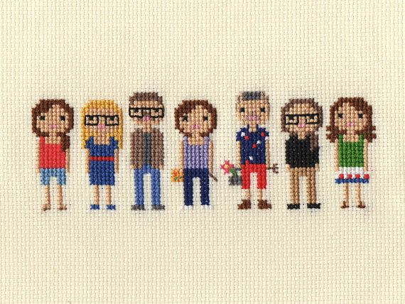 Large Family Custom Pixel Cross Stitch Portrait por ScarletPyjamas