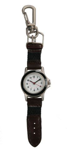 Silver-Tone Miniature Swiss Military-Style Clip-On Watch # 9110SX Avalon. $12.95. Brown genuine leather and black nylon strap. Includes gift box and lifetime limited warranty. Miniature working watch measures 5 inches long. Precision Japanese quartz movement. Clips to backpacks, keychains, belt loops, etc.. Save 57% Off!
