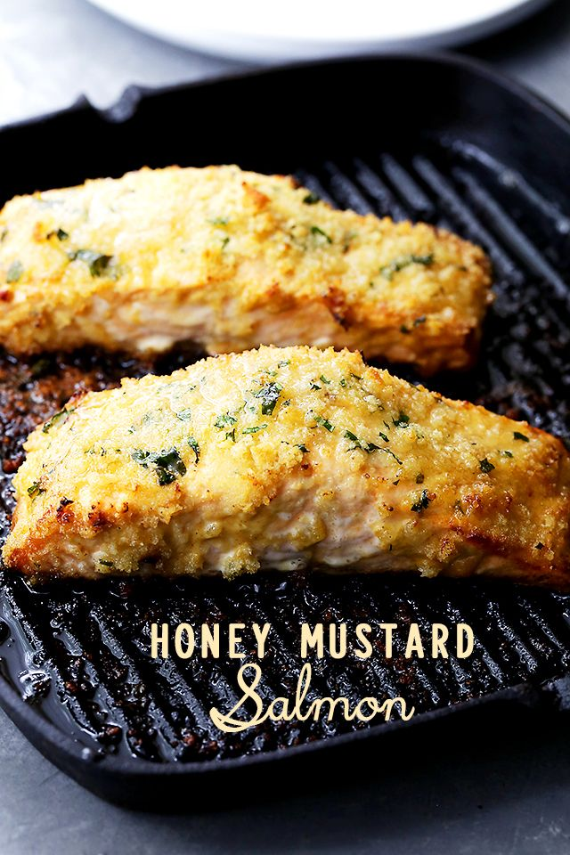 Honey Mustard Salmon Recipe - Flavorful and juicy salmon fillets brushed with…