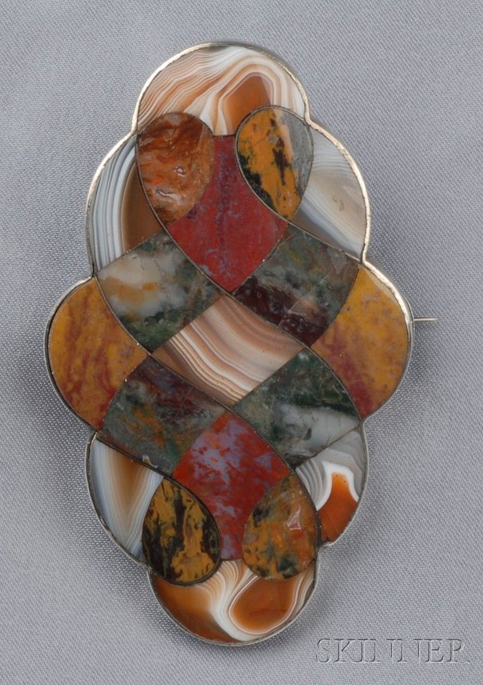 Large Victorian Silver And Scottish Agate Brooch