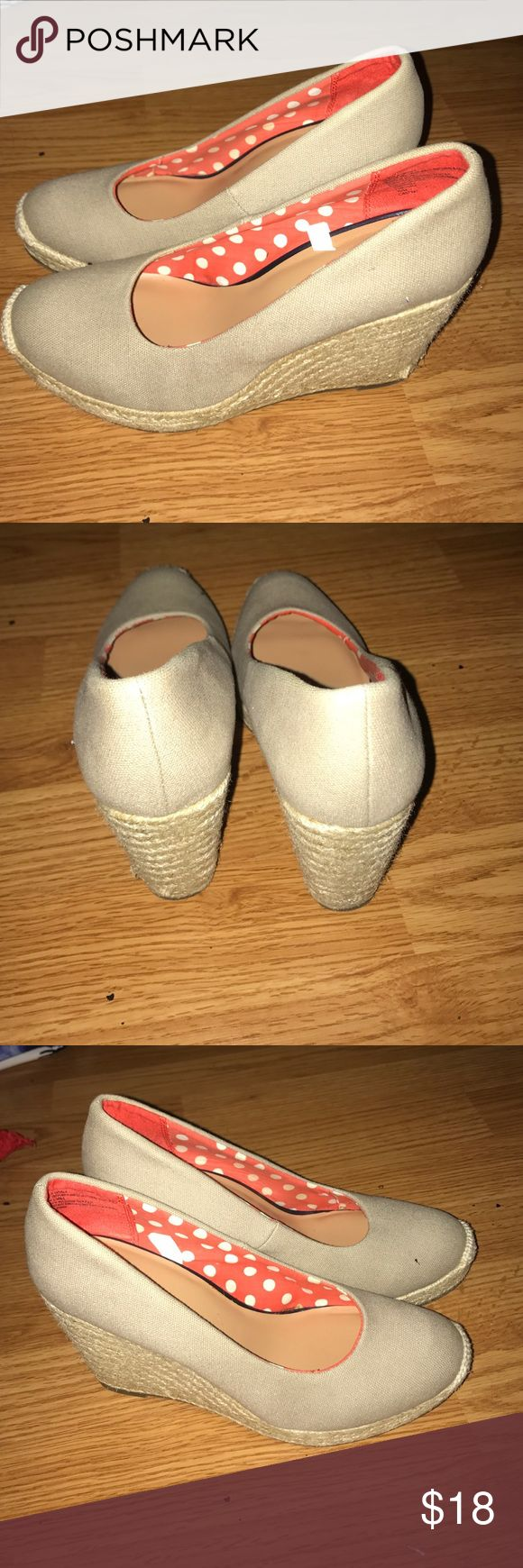 Beige Espadrille Wedge Pump Beige espadrille closed shoes. Super cute for summer time maxi and sundresses and shorts!!! I wore them once, unfortunately they don't fit me properly. Wedge is standard size and you can wear no show socks with them as well. Merona Shoes Espadrilles